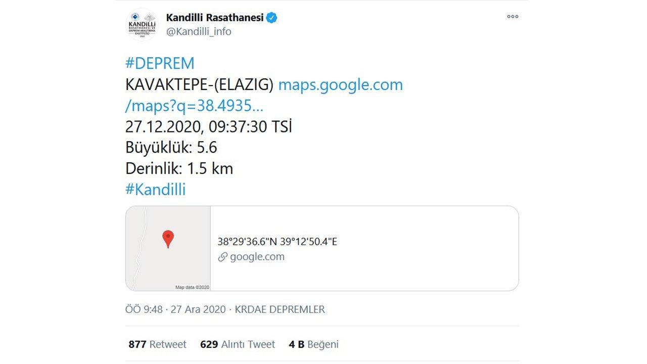 kandilli rasathanesi elazığ deprem tweet